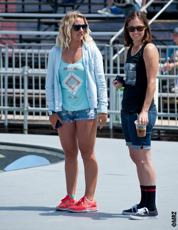 Lea Taylor and Mimi Knoop watch the practice session.