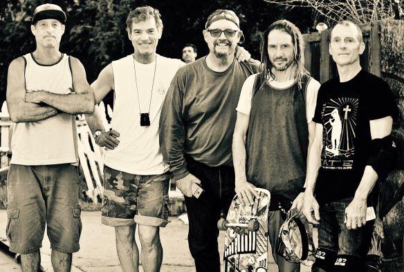 Kent Senatore, Deano Mueller, William Sharp, Tony Alva, Brad Bowman and perfect photobomb by Lance Mountain